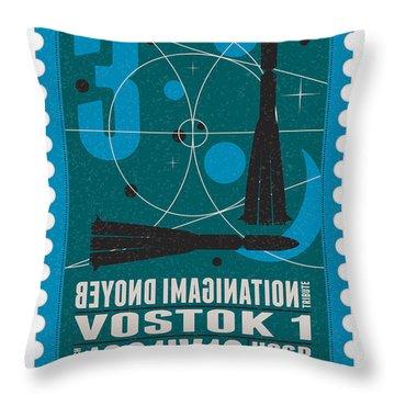 Starschips 03-poststamp - Vostok Throw Pillow by Chungkong Art