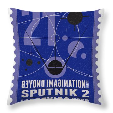 Starschips 21- Poststamp - Sputnik 2 Throw Pillow by Chungkong Art