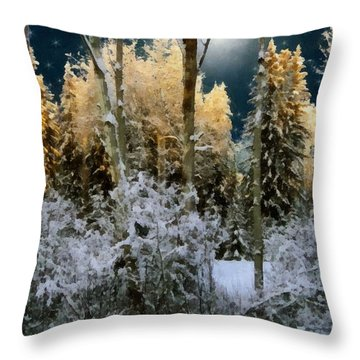Starshine On A Snowy Wood Throw Pillow