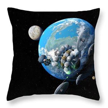 Starship At Alpha Centauri Throw Pillow by Don Dixon