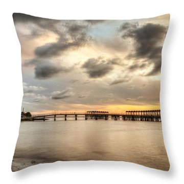 Starting A Night Of Fishing At Crab Creek Pier Throw Pillow