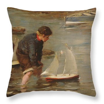 Starting The Race Throw Pillow by William Marshall Brown
