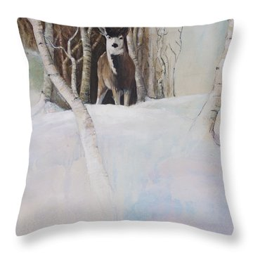 Startled Morning Throw Pillow