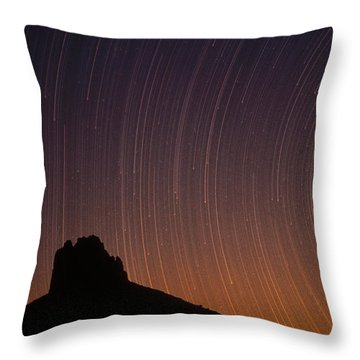 Startrails Over Shiprock In The Four Throw Pillow by Tim Fitzharris