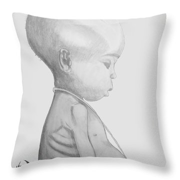 Starved African Girl Throw Pillow by Justin Moore