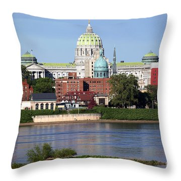 State Capitol Building Harrisburg Pennsylvania Throw Pillow by Bill Cobb