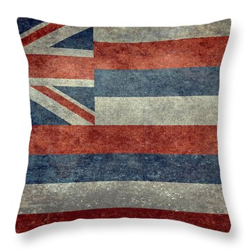 State Flag Of Hawaii Vintage Version Throw Pillow