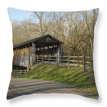 State Line Or Bebb Park Covered Bridge Throw Pillow by Jack R Perry