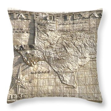 State Of Texas Map  Throw Pillow