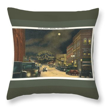 State Street Bristol Va Tn At Night Throw Pillow