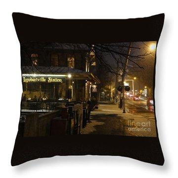 Station In Snow Throw Pillow
