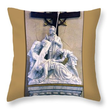 Station Of The Cross 07 Throw Pillow by Thomas Woolworth