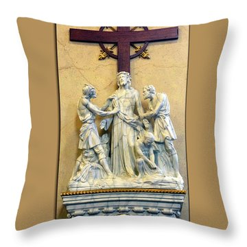 Station Of The Cross 10 Throw Pillow by Thomas Woolworth