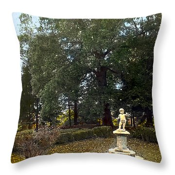 Statue And Tree Throw Pillow by Terry Reynoldson