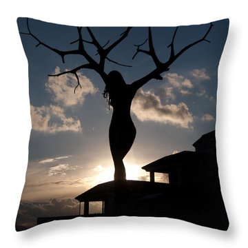 Statue El Vergel Spain Throw Pillow by Herbert Seiffert