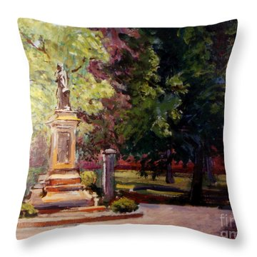 Statue In  Landscape Throw Pillow by Stan Esson