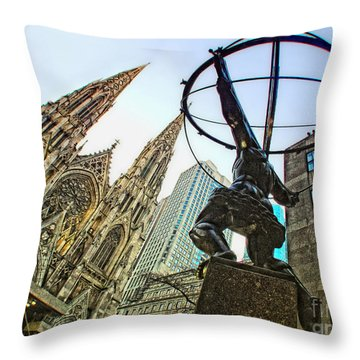 Statue Of Atlas Facing St.patrick's Cathedral Throw Pillow by Nishanth Gopinathan