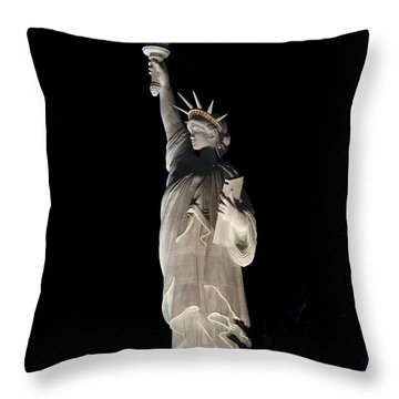 Throw Pillow featuring the photograph Statue Of Liberty After Midnight by Ivete Basso Photography