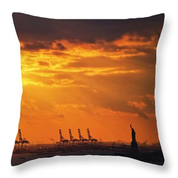 Statue Of Liberty At Sunset. Throw Pillow