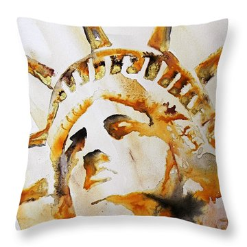 Statue Of Liberty Closeup Throw Pillow by J- J- Espinoza