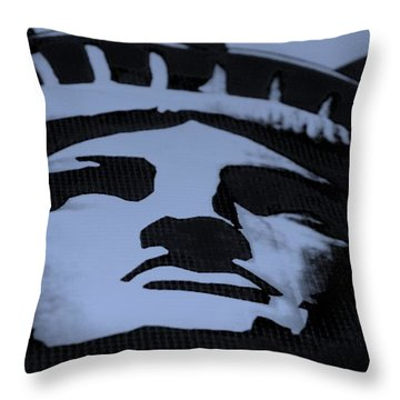 Statue Of Liberty In Dark Cyan Throw Pillow by Rob Hans