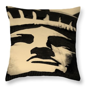 Statue Of Liberty In Dark Sepia Throw Pillow by Rob Hans