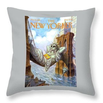Statue Of Liberty Lounges Between The Brooklyn Throw Pillow