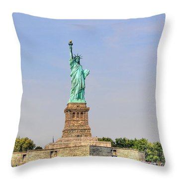 Statue Of Liberty Macro View Throw Pillow by Randy Aveille