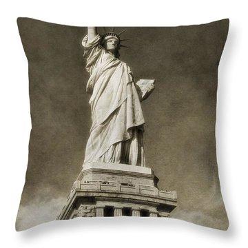 Statue Of Liberty Sepia Throw Pillow