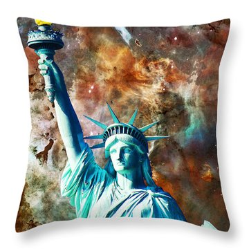 Statue Of Liberty - She Stands Throw Pillow by Sharon Cummings