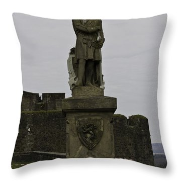 Statue Of Robert The Bruce On The Castle Esplanade At Stirling Castle Throw Pillow by Ashish Agarwal