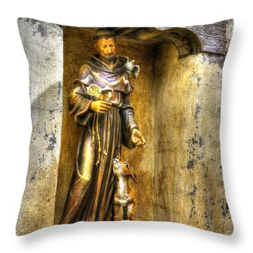 Statue Of Saint Francis Of Assisi - Alcove In The Gardens Of The Carmel Mission Throw Pillow