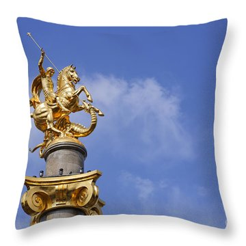 Statue Of St George And The Dragon In Tbilisi Throw Pillow by Robert Preston
