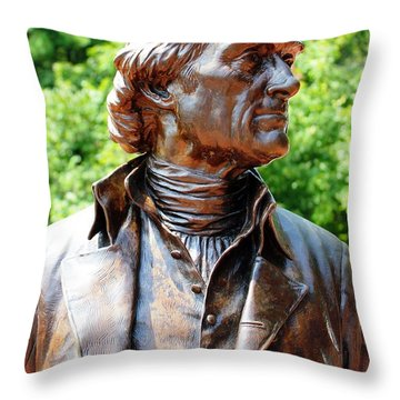 Statue Of Thomas Jefferson Throw Pillow by Judy Palkimas