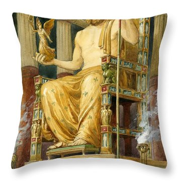 Statue Of Zeus At Oympia Throw Pillow by English School