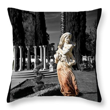 Statue On Mansion Throw Pillow