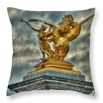 Statue On Pont Alexandre IIi Throw Pillow