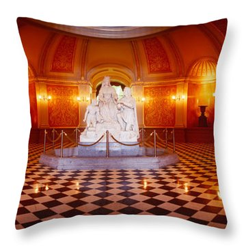 Statue Surrounded By A Railing Throw Pillow by Panoramic Images