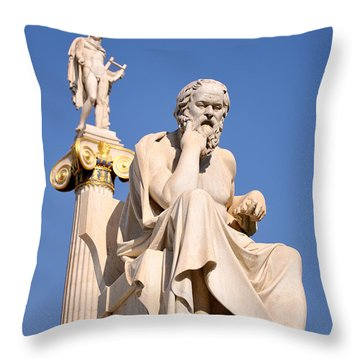 Statues Of Socrates And Apollo Throw Pillow