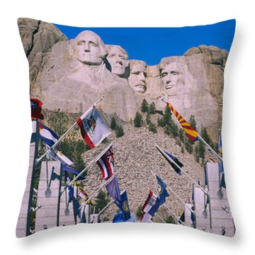 Statues On A Mountain, Mt Rushmore, Mt Throw Pillow by Panoramic Images