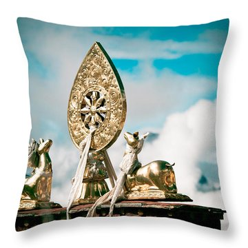 Stautes Of Deer And Golden Dharma Wheel Throw Pillow