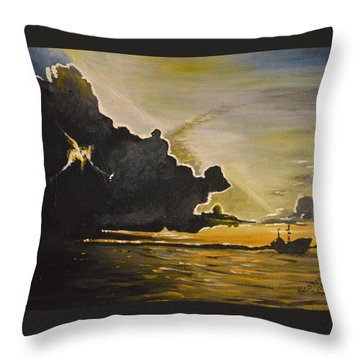 Staying Ahead Of The Storm Throw Pillow by Donna Blossom