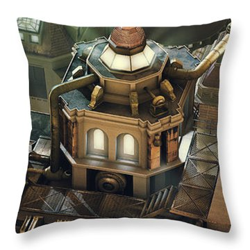 Steam City Throw Pillow