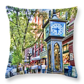 Steam Clock In Vancouver Gastown Throw Pillow