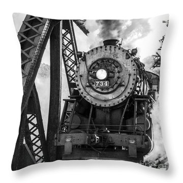 Steam Engine 734 Leaving The Narrows Throw Pillow by Jeannette Hunt
