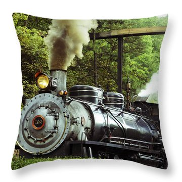 Steam Engine Throw Pillow by Laurie Perry