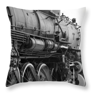 Steam Locomotive 1519 - Bw 02 Throw Pillow by Pamela Critchlow