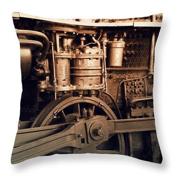 Steam Locomotive Train Detail Sepia Throw Pillow