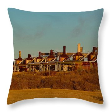 Throw Pillow featuring the photograph Steam Plant In Cymric Field by Lanita Williams