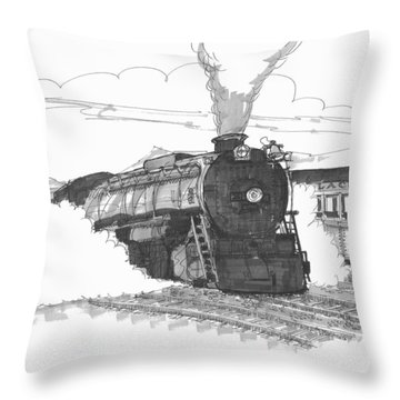 Steam Town Scranton Locomotive Throw Pillow